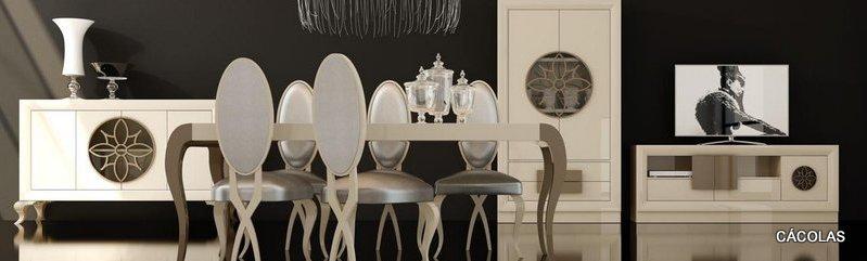 Conjunto de salón modular con comedor a juego, mesa extensible, sillas y aparador.