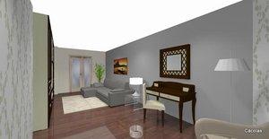 Proyecto en 3D de decoracíon integral de salón