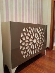 Mueble de entrada lacado en color beig y visón.
