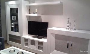 Modular de salón en blanco y plata